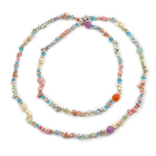 Collar largo con cuentas de cristal de ágata y cristal semidreciosa, 120 cm de largo
