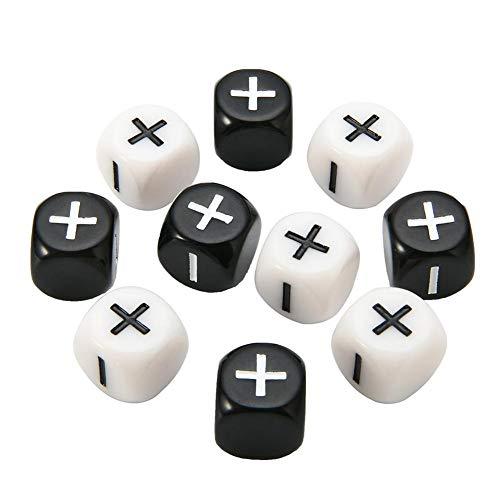 Juego De 10 Dados Matemáticos, Enseñanza Matemática Acrílica Aritmética Más Dados De Signo Menos, Juego De Matemática De Números Positivos Y Negativos En Blanco Y Negro