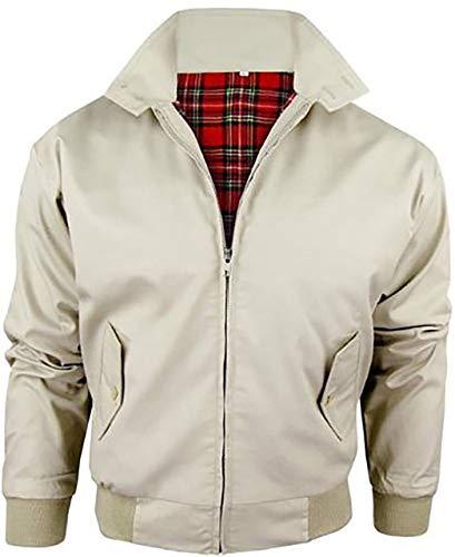 Vintage Harrington Von Wholesale Workwear - Erwachsene Harrington Jacke Britisch Mantel Klassisch 1970er Jahre Retro Scooter Kariertes Futter - XL, Beige