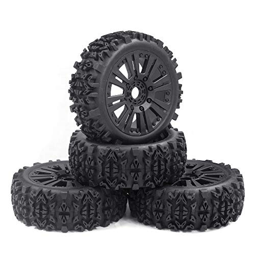 RCStation 1/8 Scale RC Buggy Tires 17mm Hex RC Wheels and Tires PreGlued Rim and Tires Foam Inserts, 17mm Hex 1/8 RC Buggy Tires and Wheels for Python, Redcat, Team, Losi, HPI, HPS, 4PCS-Black