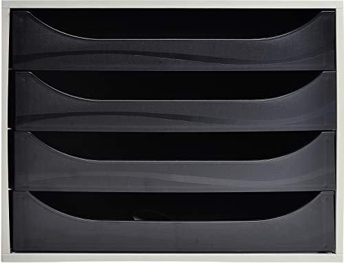 Exacompta - Réf. 2286014D – Module à tiroirs ECOBOX - Caisson individuel à 4 tiroirs pour document A4 maxi - Certifié Ange Bleu - Dimensions 34,8 x 28,4 x 23,4 cm – Couleur Gris / Noir
