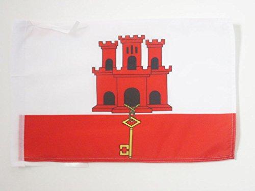 AZ FLAG Flagge Gibraltar 45x30cm mit Kordel - ENGLISCHE Fahne 30 x 45 cm - flaggen Top Qualität
