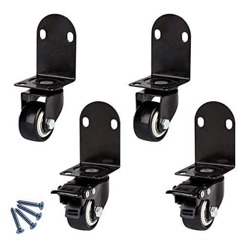 DrakSun 4er Set Lenkrollen Möbelrollen mit Bremse Mit L-Halterung Mit Bremsen Mit Schrauben 120 kg Tragfähigkeit Für Kinderbetten -1.5in/40mm 2 2 Bremsen schwenken