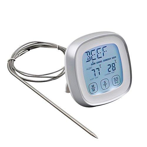 DollaTek Termómetro de Carne, termómetro de Alimentos de Lectura instantánea Termómetro de cocción Digital con sonda de Alerta de Temporizador para Horno, Cocina, Parrilla, ahumador (Plateado)