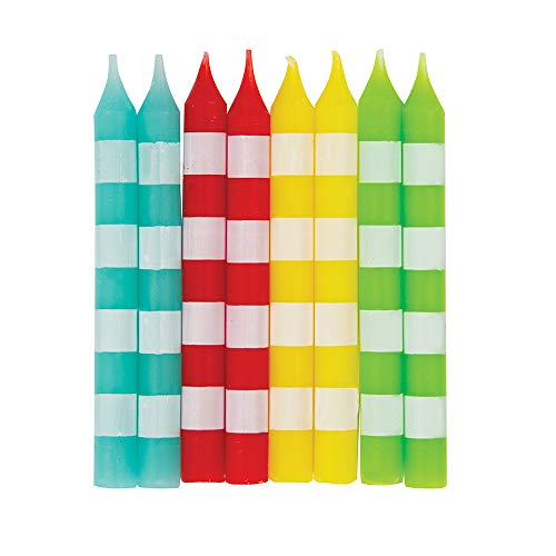 Unique Party 19994 - Striped Birthday Candles, Assorted Pack of 8