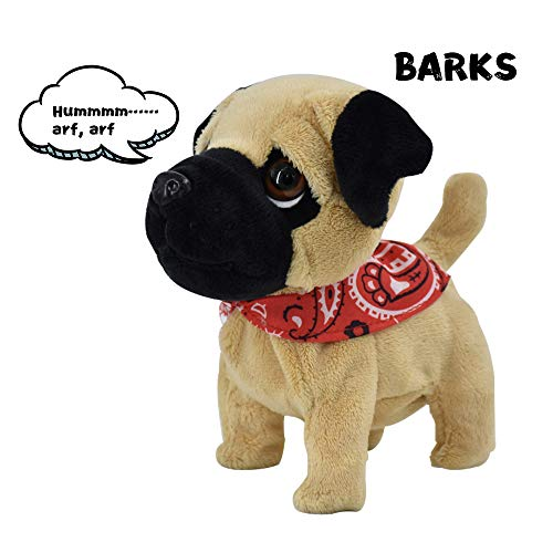 WEofferwhatYOUwant Pug Puppy - Plush Electronic Toy Dog - Walks, Barks, and Cuddles. Portable Small Size. Ages 18+ months