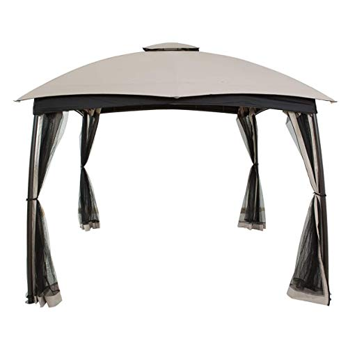 WSN Gazebo Patios Canopy, Gazebos Dome Top with Mosquito Net, Outdoor Weather Proof, Double Vent Arched Legs Tent 10' x 10'