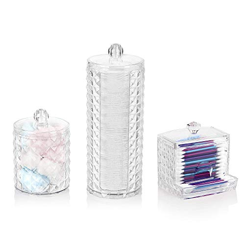 Overroo Make-up-Organizer-Set, Wattepad-Halter, Wattestäbchen-Halter und Mehrzweck-Zylinder-Aufbewahrungsbox mit Kunststoffdeckel (Diamant)