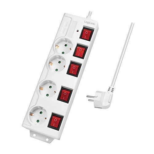 LogiLink LPS252 - 4-Fach Steckdosenleiste (CEE 7/3), mit 5X EIN/Aus Schalter, mit Überspannungsschutz + mit eingebautem Safety Shutter (erhöhter Berührungsschutz), Farbe: Weiß