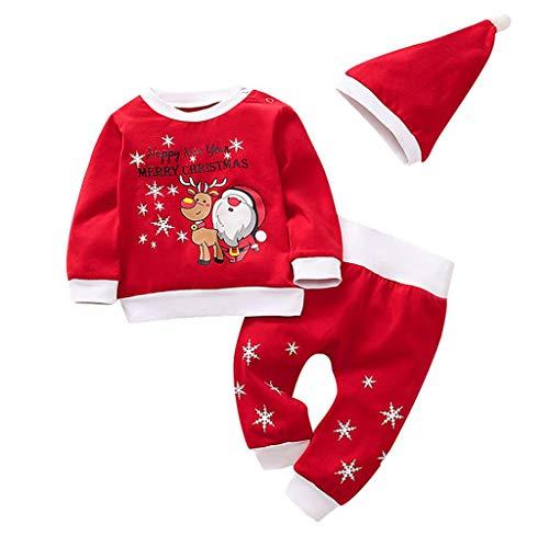 Jimmackey- Bambino 3pcs Neonata Natale Completini Stampa Santa Felpa Invernale Top Manica Lunga Body + Pantaloni + Cappello Pigiama Set di Natale
