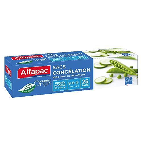 ALFAPAC - 25 sacs congélation à lien - Grand modèle - Vegetal Origin - Fabriqué en France