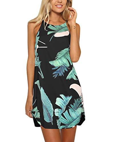 YOINS Strandkleider Damen Sommer Casual Sommerkleid Damen Kurz Strand Schulterfrei Elegant Kleider Ärmellos Minikleider A-schwarz S