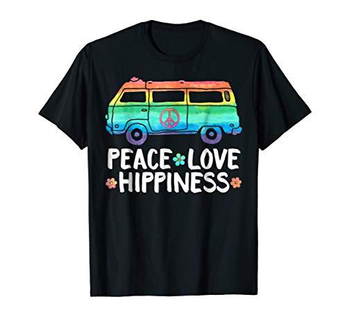 Funny Peace Love Hippiness Peace Van Hippie Bus Rainbow Tee