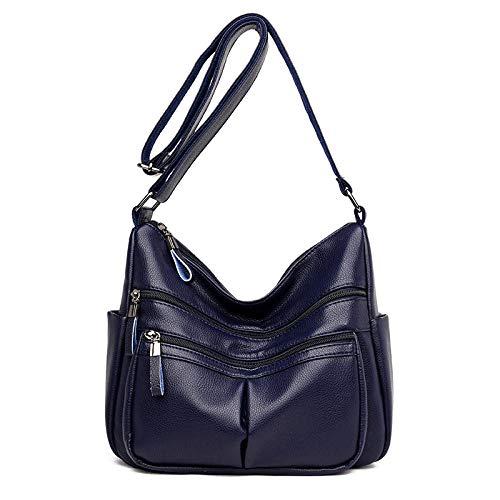 Weier. Ben schoudertas voor heren, middeleeuwse schoudertas van zacht leer voor dames, Nieuwjaar, hoge capaciteit Blauw