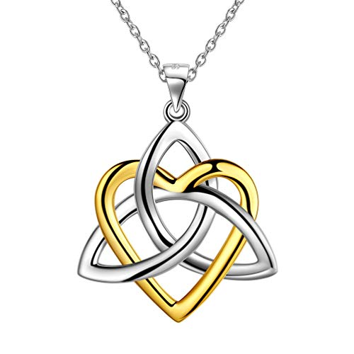 Heart Celtic Knot Necklace Women Men Sterling Silver 18K Gold Two Tones Good Luck Triquetra Irish Celtic Necklace Jewellery Gift for Girls FP0139F