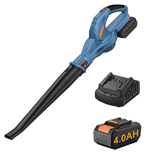 Soffiatore per Foglie a Batteria con Batteria e Caricabatterie 20V 4.0Ah, Soffiatore per Foglie Elettrico per la Cura del Prato,...