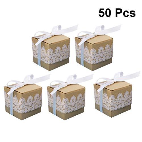 Amosfun 50 stks bruiloft boog snoep doos kant traktatie doos creatieve afdrukken kraft papier opslagdoos met lint voor bruiloft feest festival