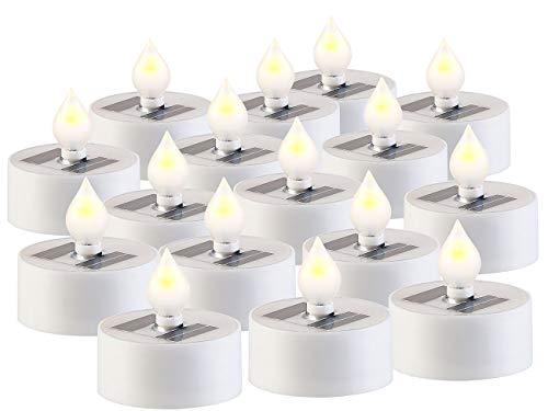 Lunartec Akku Teelichter: 16er-Set Solar-LED-Teelichter mit Dämmerungs-Sensor, IP44, weiß (Solar-Teelichter außen)