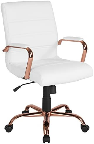 Best Flash Furniture Mid-Back White LeatherSoft Executive Swivel Office Chair with Rose Gold Frame and Ar