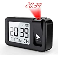 Hosome Digital Projection Alarm Clock on Ceiling with Indoor Temperature Large LCD Display 4 Projection Brightness with Snooze Function Setting for Bedroom, Office