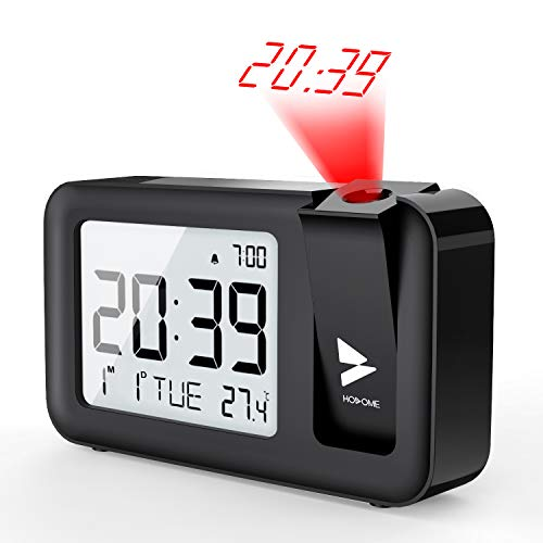 Hosome Projection Alarm Clock, Digital Projection Alarm Clock on Ceiling with Indoor Temperature Large LCD Display 4 Projection Brightness with Snooze Function Setting for Bedroom, Office, Black