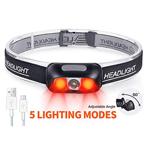 Rechargeable Headlamp, COSMOING 500 Lumen Ultra Bright Head Lamp 5 Lighting Modes with Red Light,IPX4 Waterproof Adjustable Strap Headlamp Flashlight for Adult Emergency, Running, Camping, Cycling
