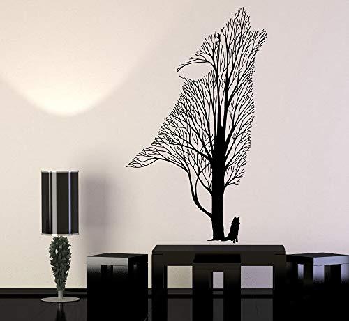 Calcomanía de vinilo moderna para pared árbol Lobo Cuervo Animal pegatina de pared gótica decoración del hogar pegatina de pared pintura de pared A1 42x71cm
