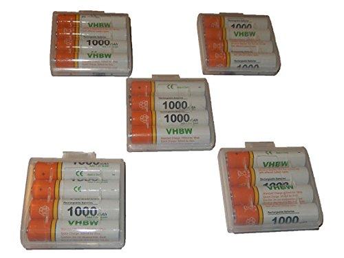 vhbw 20 x AAA, Micro, R3, HR03 Akku 1000mAh passend für Siemens Gigaset AS180, AS185, C430, C430A, Speedphone 100, 500, AVM Fritz!Fon C3