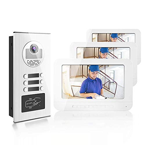Video-Türsprechanlage, 7 Zoll Türklingel Villa Visual Entry Intercom System Kit, 3 Familienhaus, 1 HD Kamera, Zwei-Wege-Audio, IR-Nachtsicht, App-Steuerung für Sicherheit zu Hause(EU-Stecker 100-240V)