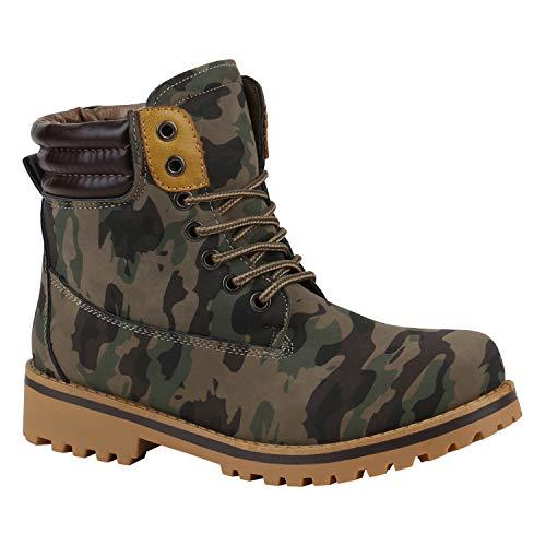 stiefelparadies Warm Gefütterte Damen Outdoor Stiefeletten Worker Boots Camouflage 39 Flandell