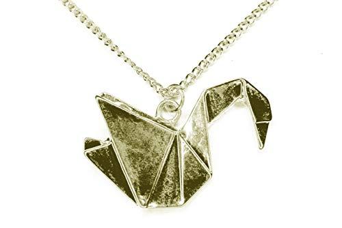 Collar llamativo grulla cisne collar origami geometry declaración blogger, con bolsa de joyería