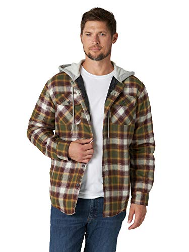 Wrangler Authentics Men's Long Sleeve Quilted Lined Flannel Shirt Jacket with Hood, Olive Night, Medium