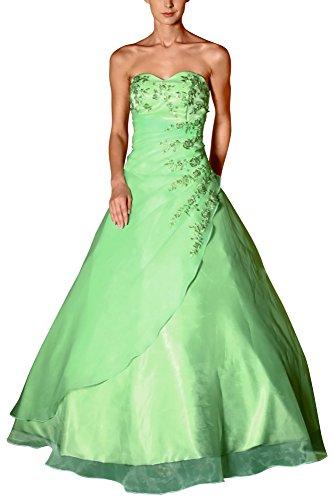 Romantic-Fashion Damen Ballkleid Abendkleid Brautkleid Lang Modell E482 A-Linie Satin Stickerei Perlen Pailletten DE Grün Größe 46
