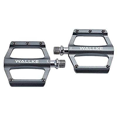 Wallke Bike Pedals Snow Mountain Road Bicycle Flat Pedal, with 20 Anti-Skid Pins -Universal Lightweight Aluminum Alloy Platform Pedal for Travel Cycle-Cross Bikes (Titanium)