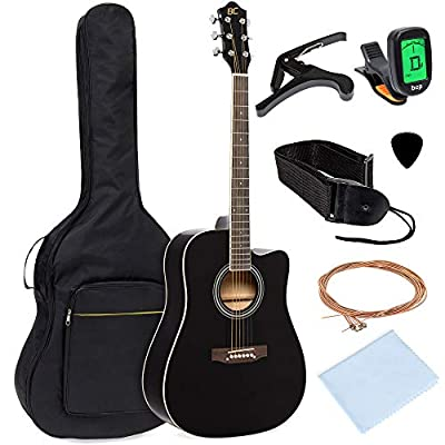 Best Choice Products 41in Full Size Beginner Acoustic Cutaway Guitar Kit with Padded Case, Strap, Capo, Extra Strings, Digital Tuner, Picks