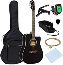 Best Choice Products 41in Full Size Beginner Acoustic Cutaway Guitar Kit w/Padded Case, Strap, Capo, Extra Strings, Digital Tuner, Picks (Black)
