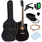 Best Choice Products 41in Full Size Beginner Acoustic Cutaway Guitar Kit w/Padded Case, Strap, Capo, Extra Strings, Digital Tuner, Picks...