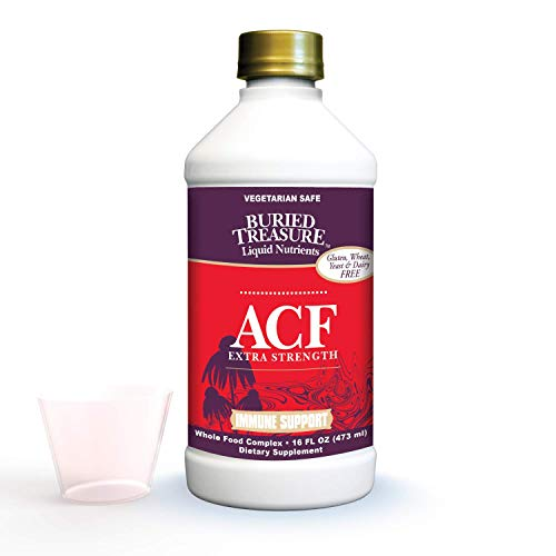 Buried Treasure ACF Extra Strength Advanced Immune Recovery with Vitamin C 1000mg, Elderberry Echinacea Zinc and Herbal Blend, Boost Immunity Support Supplement, 16oz. with Convenient Dose Cup