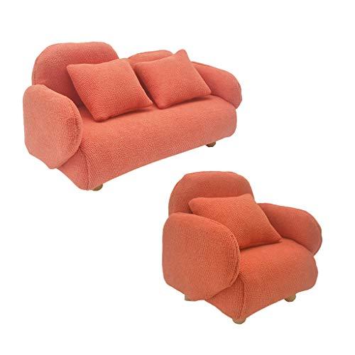 SM SunniMix 2er Set 1:12 Puppenhaus Sofa Sessel Couch Wohnzimmer Möbel Einzelsessel Ohrensessel Puppenmöbel