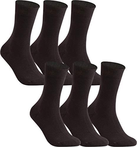 Vitasox 31212 Herren Socken Business Herrensocken Baumwolle Baumwollsocken Ges&heitssocken ohne Naht ohne Gummi 6er Pack moccca 43/46