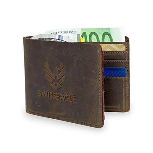 Swiss Eagle Herren börse aus echtem Leder - Slim Bifold mit 12 Kreditkartenfächern, 1 Ausweisfenster
