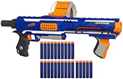 High capacity 25 dart drum: The Nerf Rampage blaster's drum holds up to 25 darts and includes 25 official Nerf Elite foam darts giving you plenty of firepower for Nerf battles Slam fire action for rapid dart blasting: shoot a rapid fire dart Storm at...