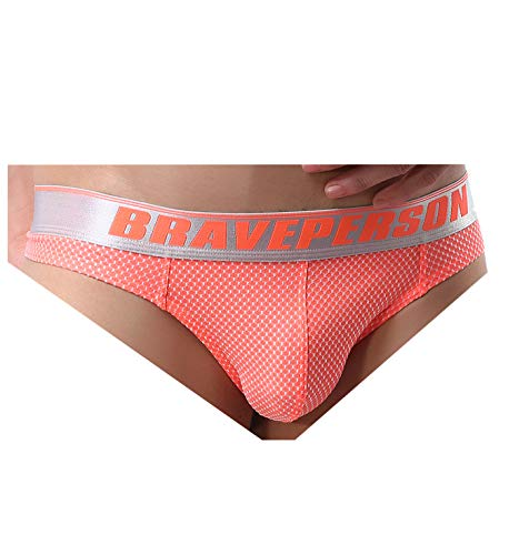 BRAVE PERSON Men's Sexy G-String Jacquard Thong Underwear Swimwear B1153 (M, Orange)