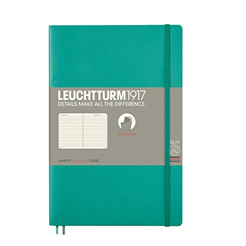 LEUCHTTURM1917 - Paperback B6+ Ruled Softcover Notebook (Emerald) - 123 Numbered Pages