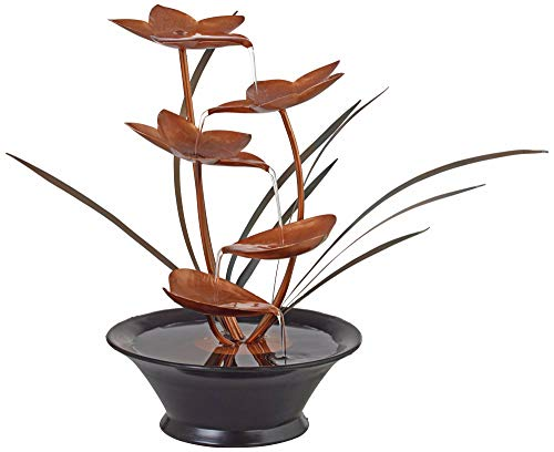 John Timberland Bloomfield Copper Flower 13' High Tabletop Fountain