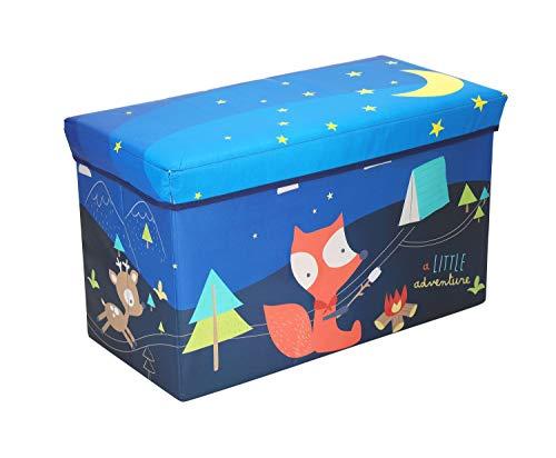 Bieco - Scatola portaoggetti con coperchio, 60 l, pieghevole, ca. 60 x 30 x 35 cm, con coperchio, per bambini