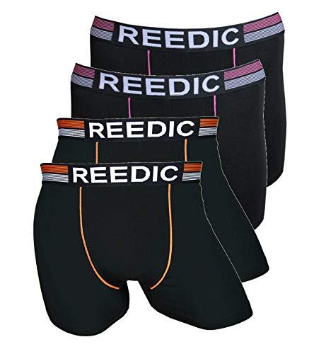 Reedic heren boxershorts, katoen, 4-pack, maat X-Large (XL), kleur elk 1x donkerblauw, donkerblauw, grijs, zwart