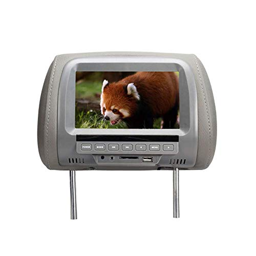 LYXMY 7 inch Auto Kopfstütze Monitor, DVD Video Player MP4 / Medien Player Fm Transmitter, 720P LED Digital Display mit Av, TV und USB Buchse - Grau, Einheitsgröße