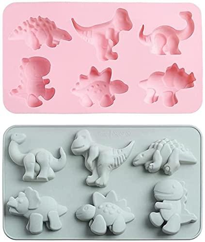 hwljxn Molde de Silicona Molde de Silicona Dinosaurio 3D Dinosaurio Vela Molde de Chocolate Herramientas para Hornear para DIY Craft 2pcs