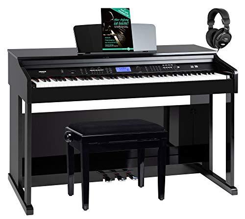 FunKey DP-2688A SH Digitalpiano Set - 88 anschlagsdynamische Tasten - Hammermechanik - 128-fach polyphon - 360 Sounds - 160 Styles - Spar-Set inkl. Klavierbank, Kopfhörer & Schule - schwarz Hochglanz